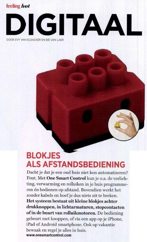 Publicatie in Feeling ONE domotica - blokjes als afstandsbediening